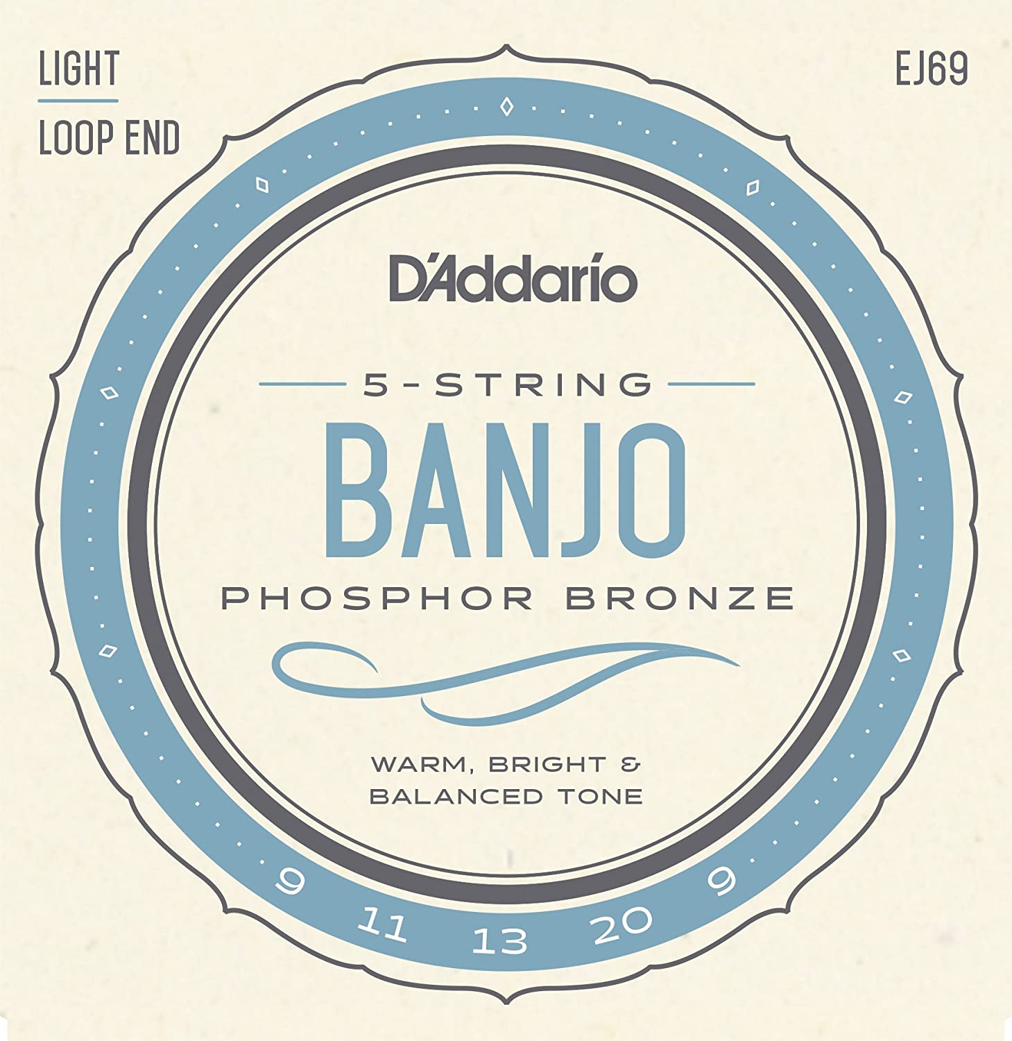 D'Addario EJ69 Phosphor Bronze 5-String Banjo Strings, Light, 9-20 D'Addario
