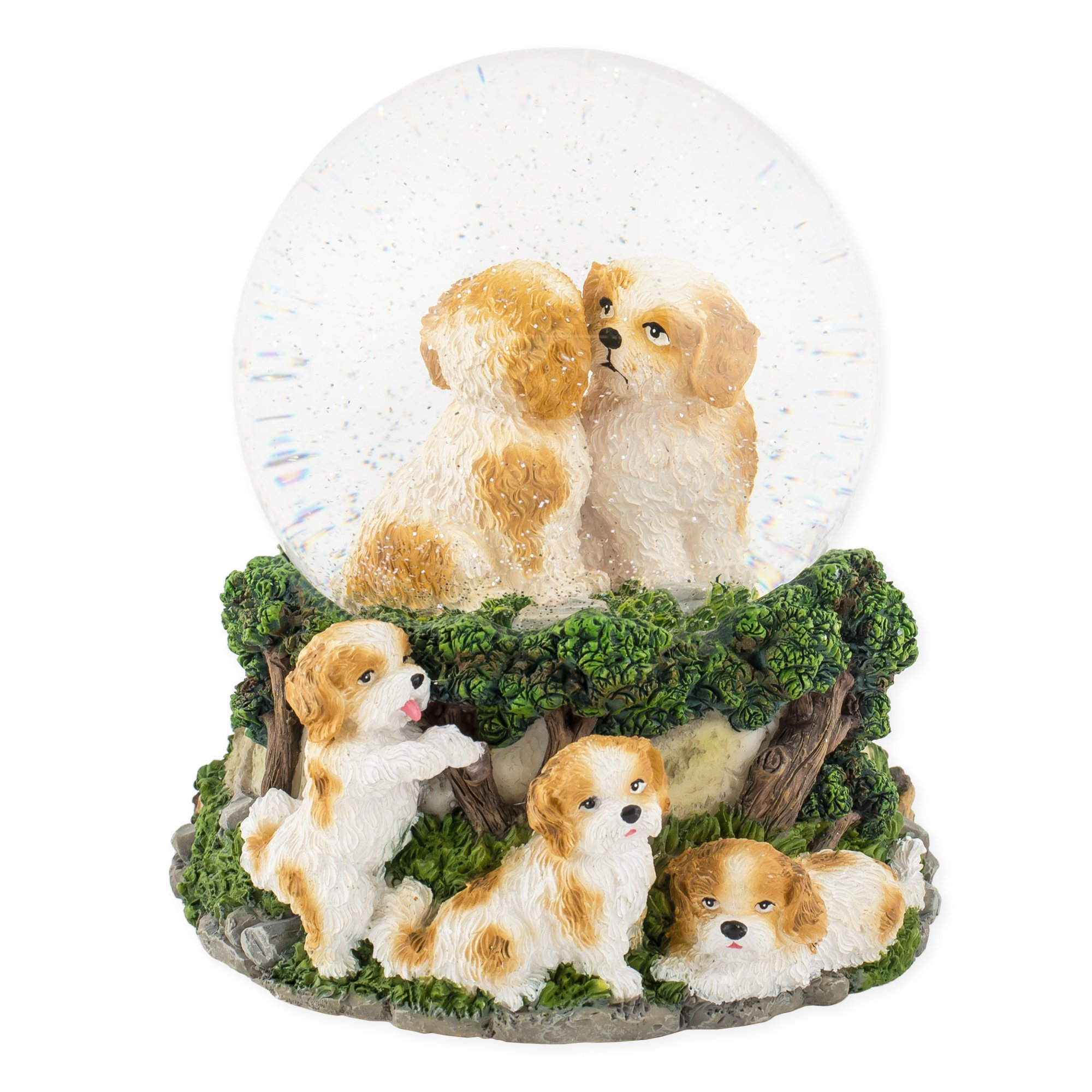 Playful White Tan Puppies 100mm Resin Water Globe Plays Tune Best of Friends