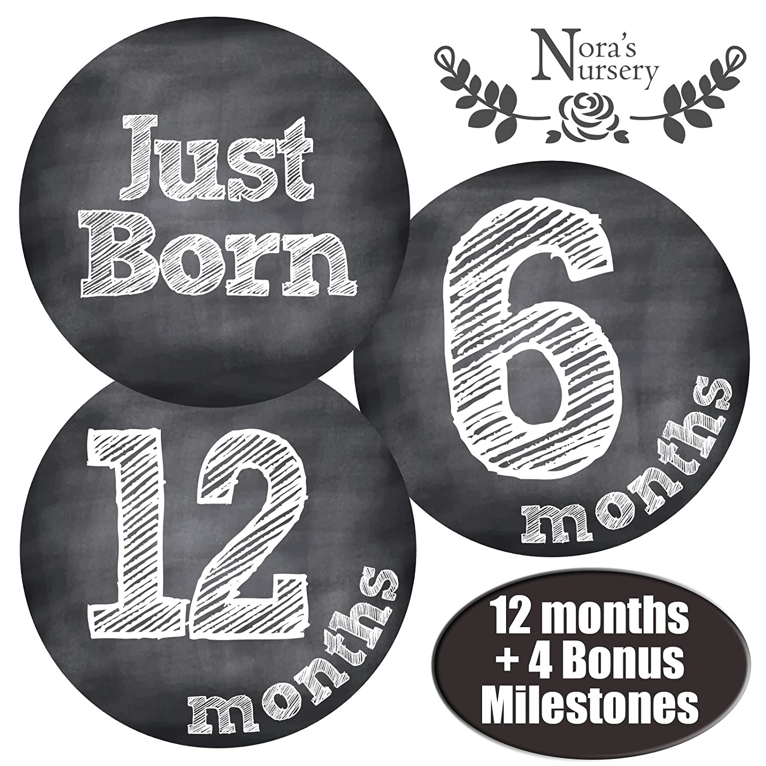 Chalkboard Baby Monthly Stickers - Shower Gift Idea or Scrapbook Photo Keepsake Nora's Nursery STK109