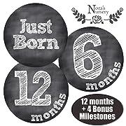 Chalkboard Baby Monthly Stickers - Shower Gift Idea or Scrapbook Photo Keepsake