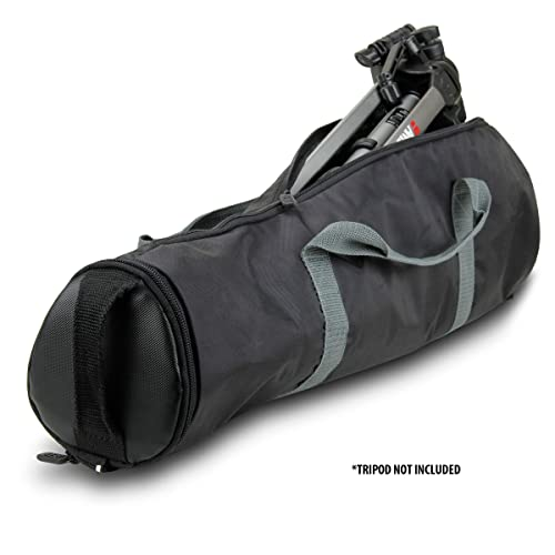"""Padded Tripod Case Bag by USA Gear (Holds Tripods from 21"""" to 35"""" Folded) with Shoulder Strap, Adjustable Size Extension and Storage Pocket for Professional Camera Accessories and Photo Carrying Needs"""