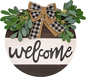 """Welcome Front Door Porch Wall Decor, Porch Sign, Welcome Sign Rustic House Warming Gift Idea New Home Gift Rustic Front Door Hanger Decor New House Gifts Wooden Sign for Home Round 12"""", 0.65"""" thick,"""