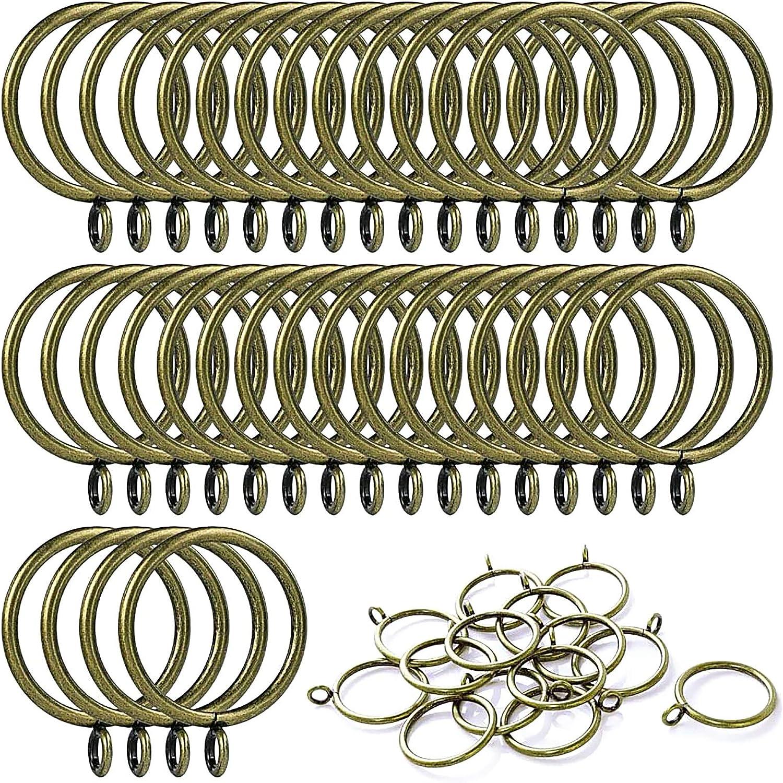 ANJUU 24 Pack 38mm Inner Diameter Metal Curtain Drape Sliding Eyelet Rings Antique Bronze Tone