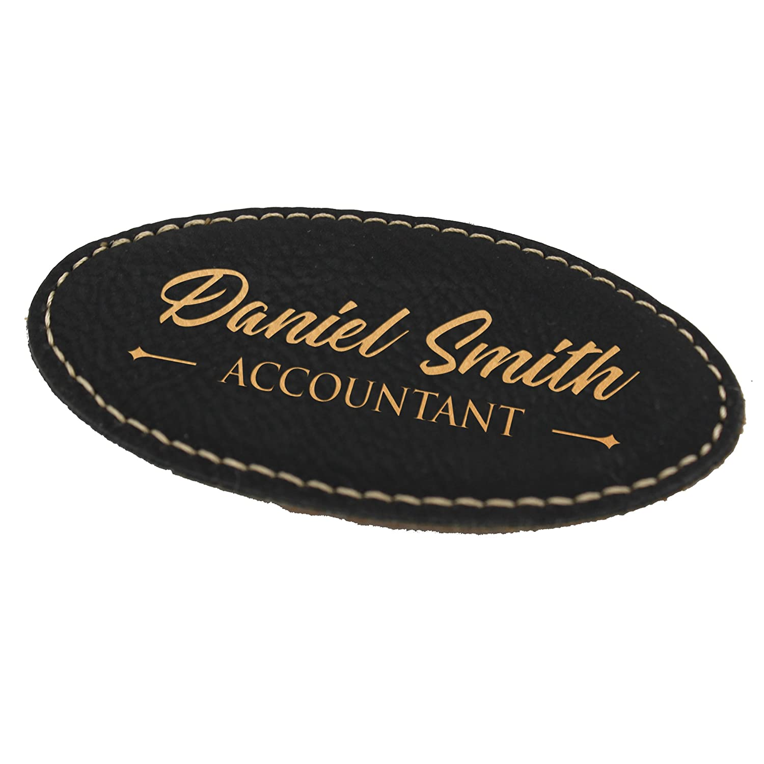Personalized Name Tag - Custom Engraved Employee Badges - Monogrammed  Professional Name Tags (Black with Gold)