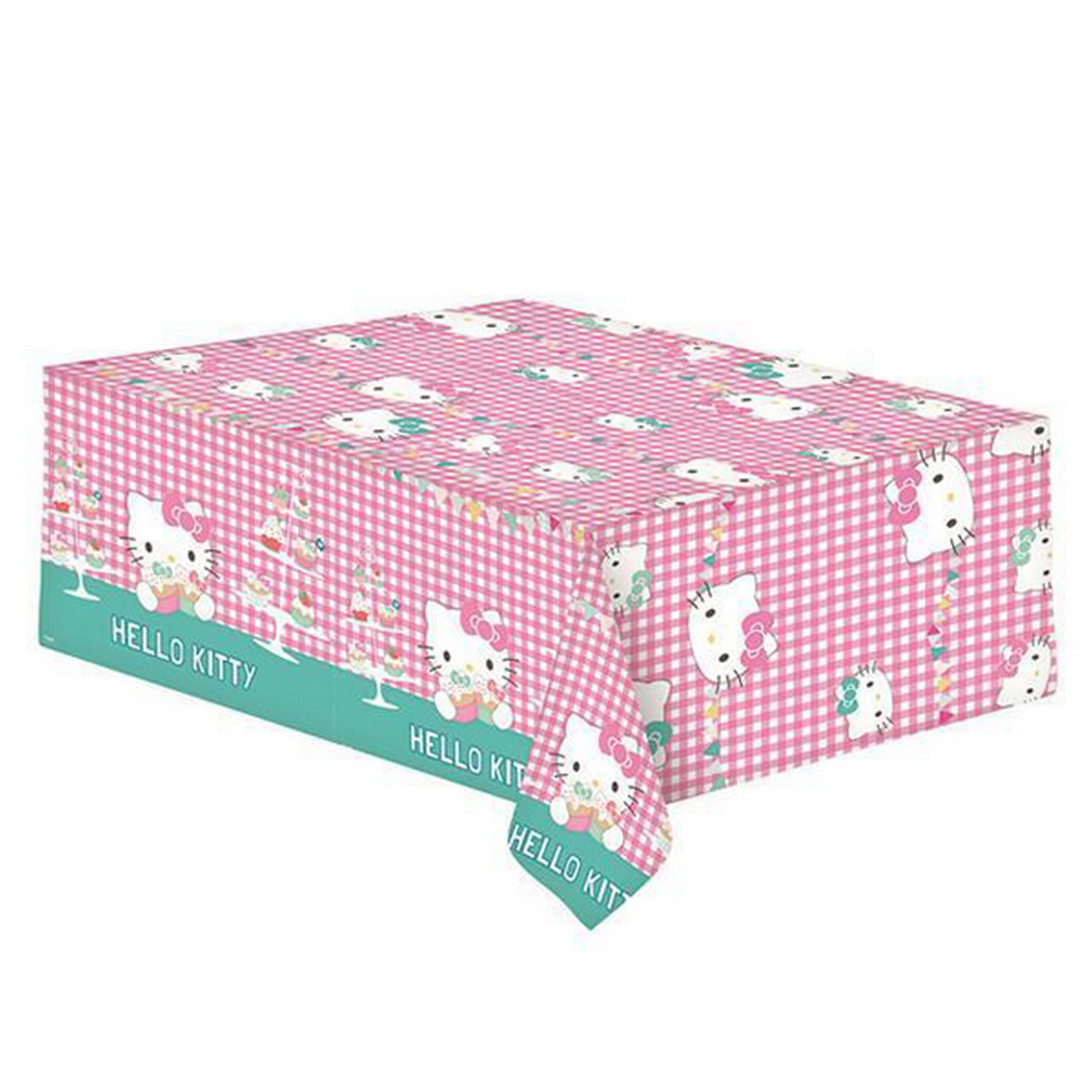 Gemma Hello Kitty Plastic Party Tablecover (One Size) (Multicoloured)