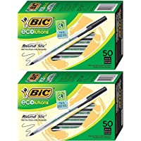 BIC Ecolutions Round Stic Ballpoint Pen, Medium Point (1.0mm), Black, 50-Count 2 Pack