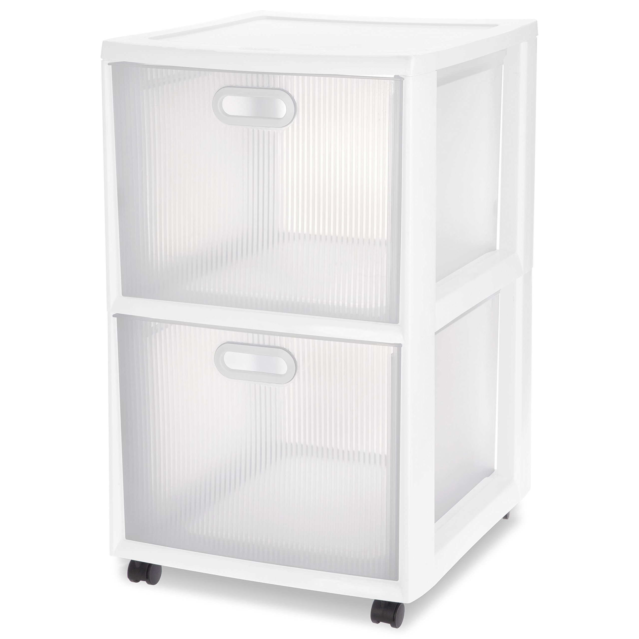 Sterilite 36208002 Ultra 2 Drawer Cart, White Frame & Clear Textured Drawers w/ Handles &  Black Casters, 2-Pack by STERILITE (Image #2)