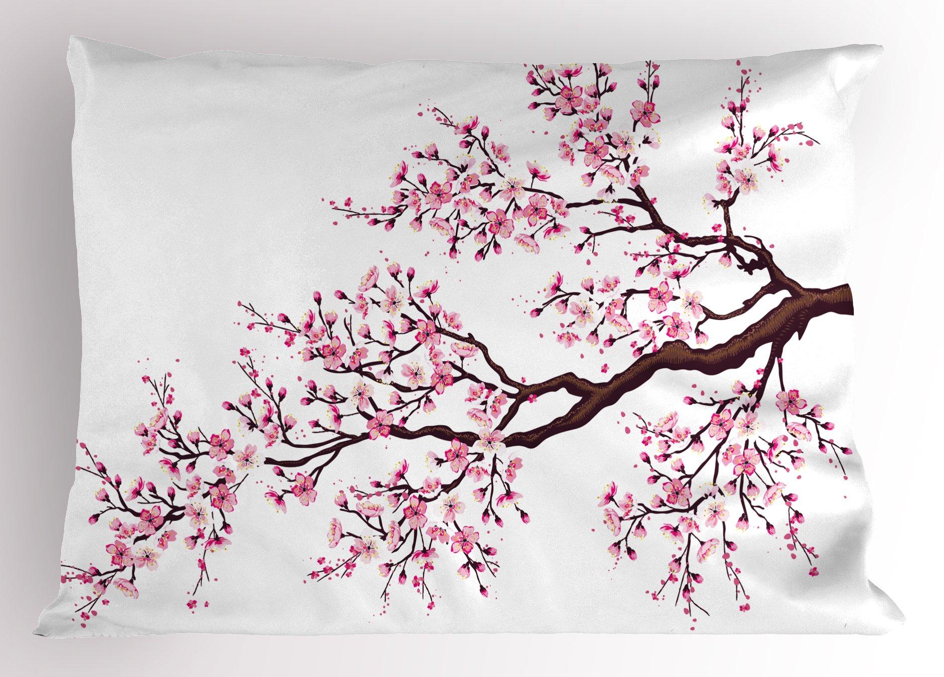 Ambesonne Japanese Pillow Sham, Branch of a Flourishing Sakura Tree Flowers Cherry Blossoms Spring Theme Art, Decorative Standard Queen Size Printed Pillowcase, 30 X 20 inches, Pink Dark Brown