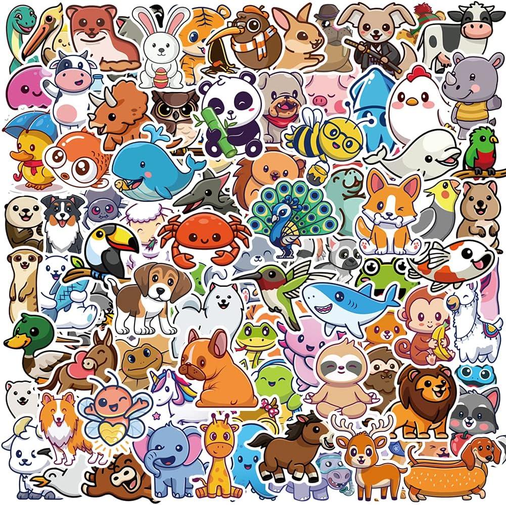 FISINY 100PCS Cute Animal Stickers - Nature Animal Laptop Stickers Skateboard Anime Vinyl Waterproof Water Bottle Sticker Decal for Kids Boys Girls Teens Adults
