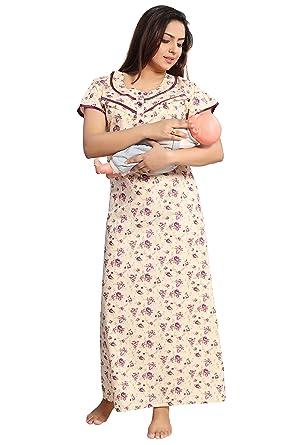 76d0ac0e8 TUCUTE Women s Beautiful Floral Print Cotton Fabric  Feeding Maternity Nursing Nighty Pregnancy wear
