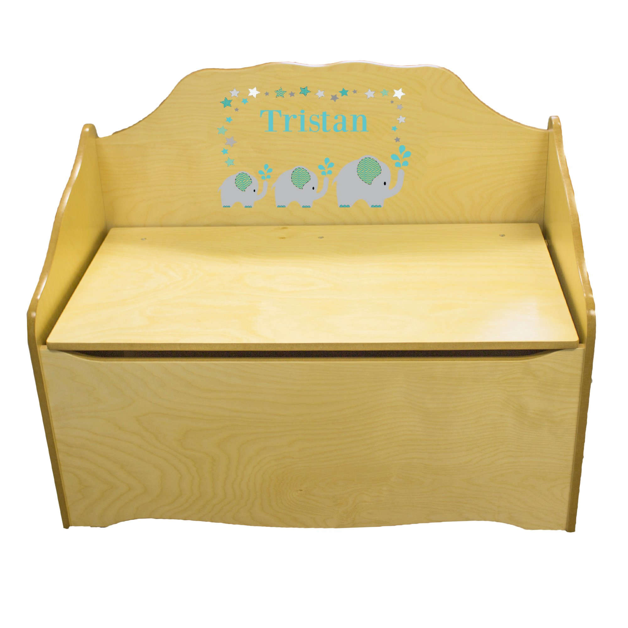 Personalized Grey and Teal Elephant Childrens Natural Wooden Toy Chest