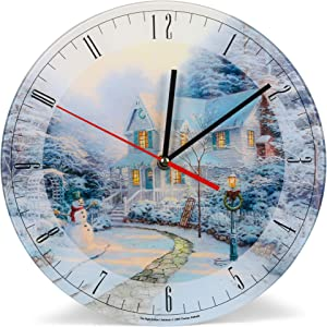 Mark Feldstein & Associates Night Before Thomas Kinkade Winter White 12 inch Glass Holiday Round Wall Clock
