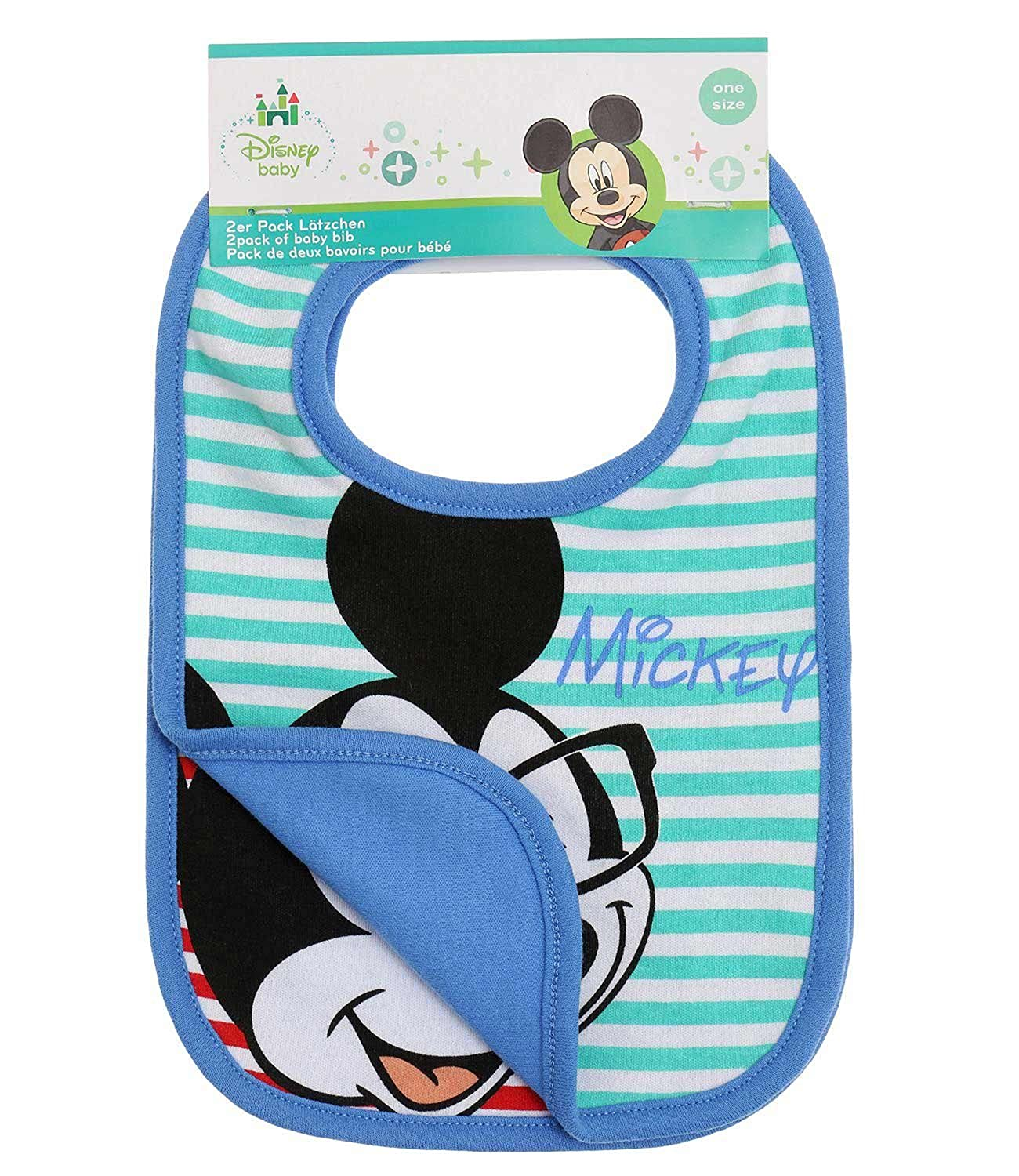 Disney Mickey Babies babero:(paquete doble) 2016 Collection - Azul WS-133225