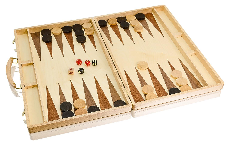BESTE Qualität riesige eingelegten BACKGAMMON 58x45cm aus Holz handgefertigt Set in Buche Koffer!