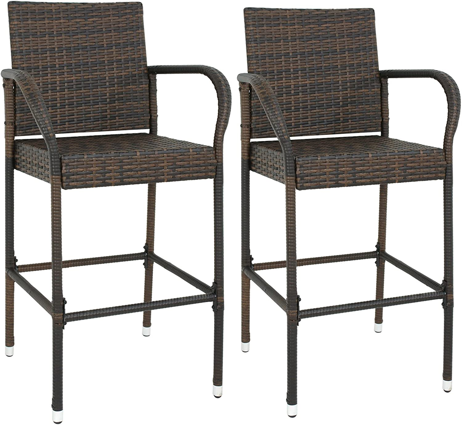 Wicker Barstool Outdoor Patio Furniture Bar Stools All Weather Rattan Chair w/Armrest and Footrest for Garden Pool Lawn Porch Backyard, Set of 2