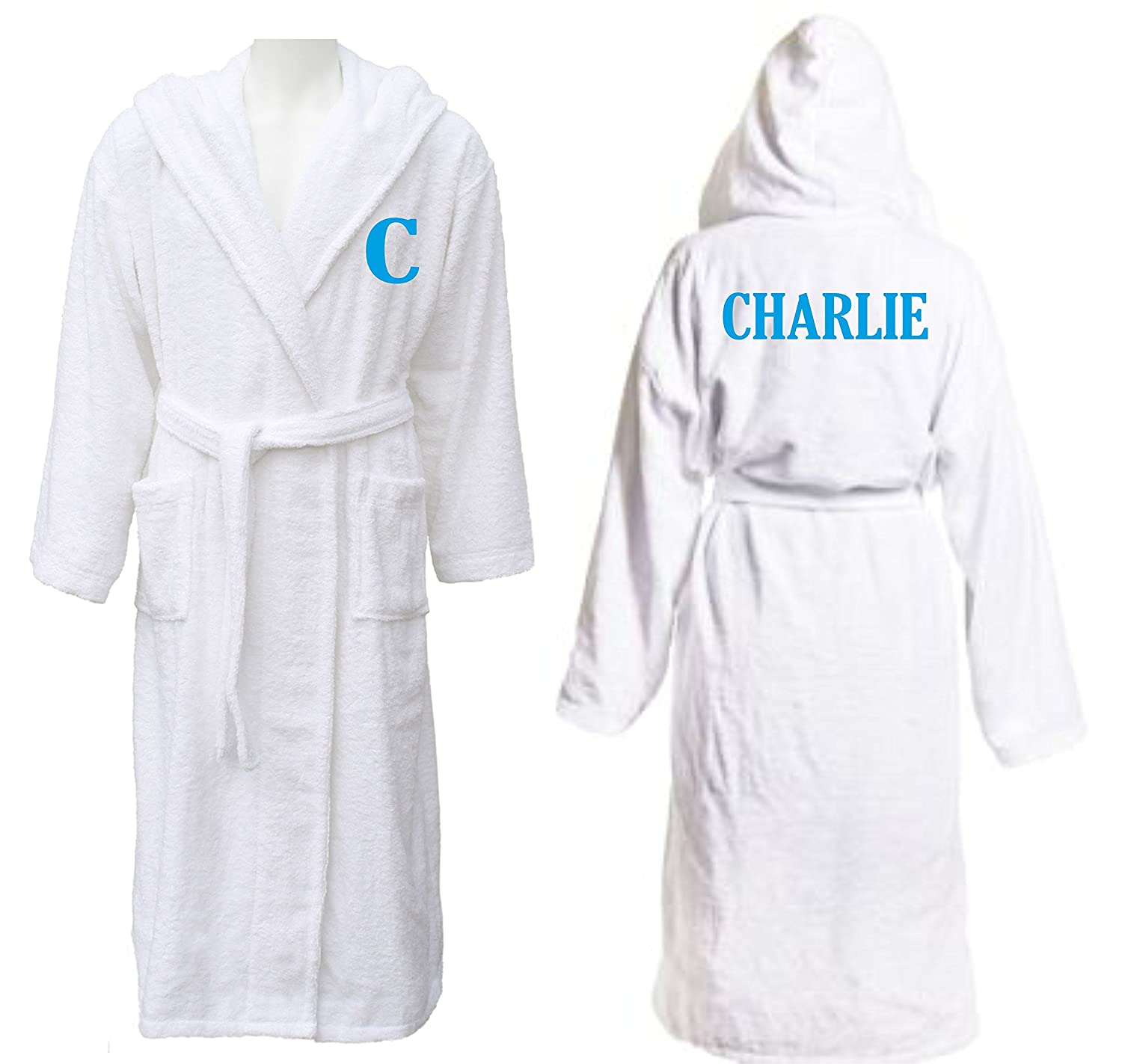 Big Babies Boutique Personalised Embroidered Boys White Hooded Bath Robe with Name and Initial