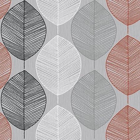 Arthouse 408203 Retro Leaf Wallpaper Grey Orange 53 Cm X 1005 M