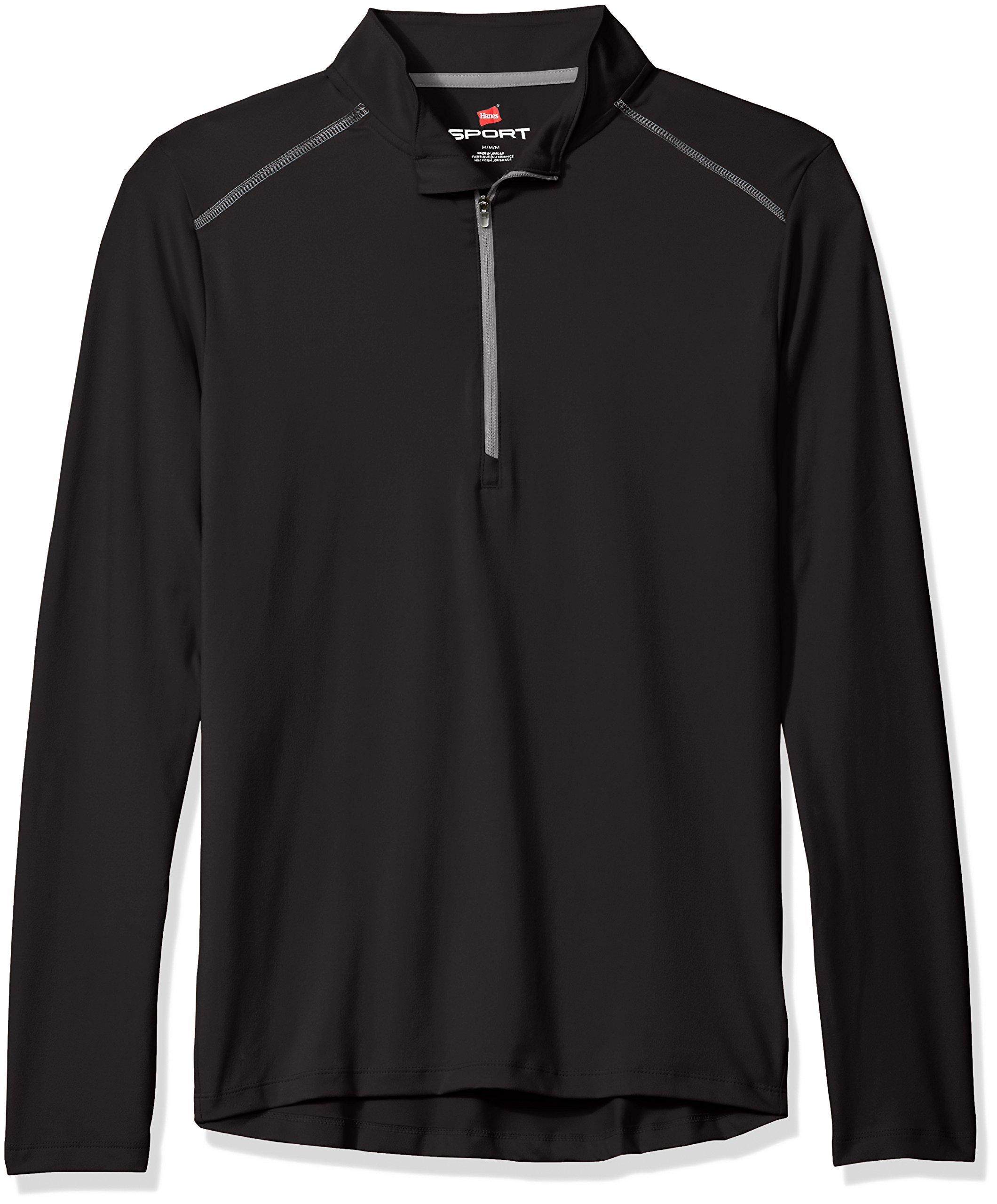 Hanes Men's Sport Performance Quarter-Zip Pullover, Black, XL