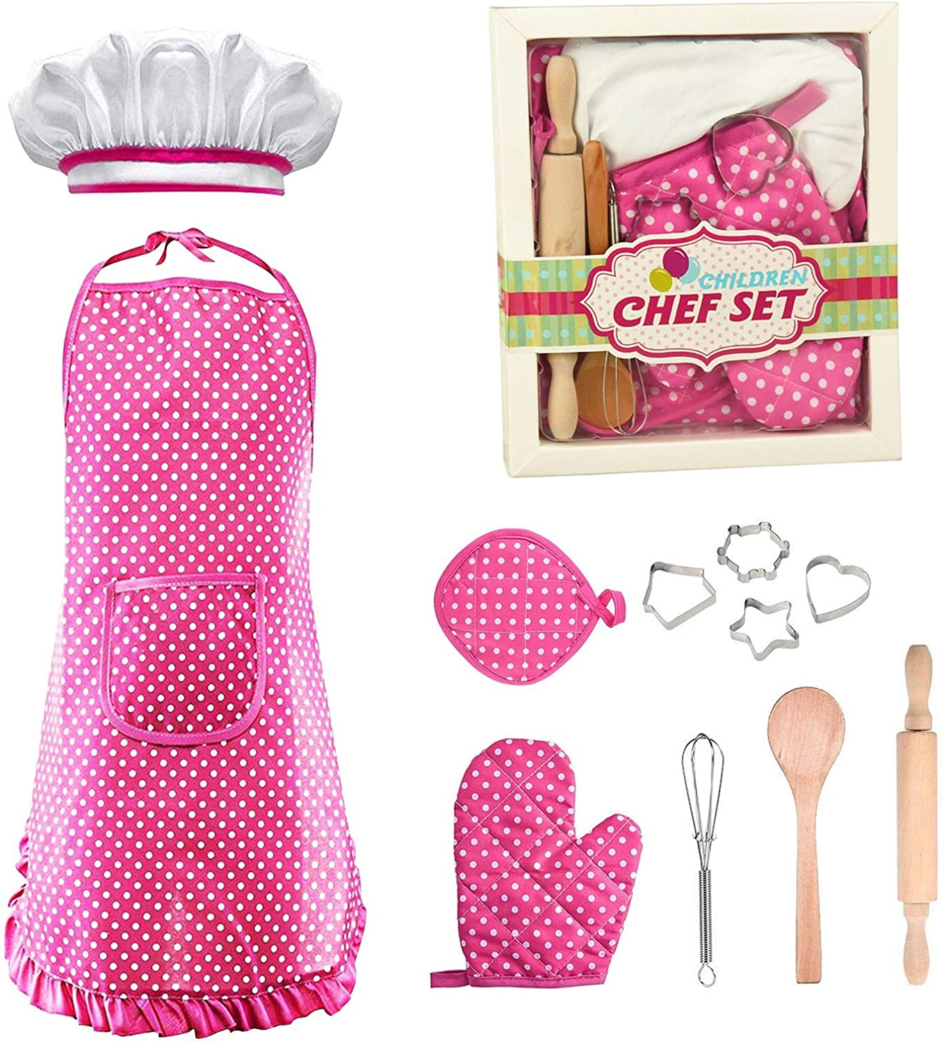 Popular Toys for 3-8 Year Old Girls Boys, Chef Costume Set for Kids Role Play Kitchen Toys Baking Set Cooking Game for Kids Apron for Little Girls Birthday Easter Gifts for Kids Age 3-8-Pink