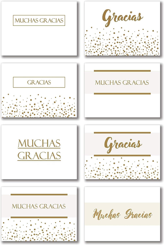 Pack de 48 tarjetas de agradecimiento (Blanco y dorado)