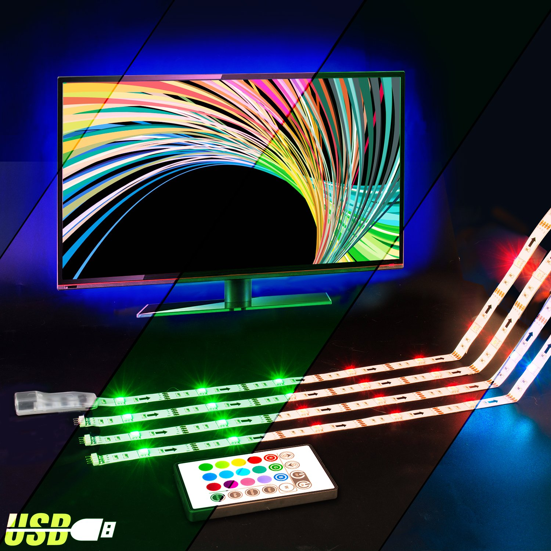 LED TV Backlight,ViLSOM Powered USB LED Strip Lights 6.56Ft for 40 to 60 inch HDTV - Bias Lighting with 24keys Romote Control RGB Lighting