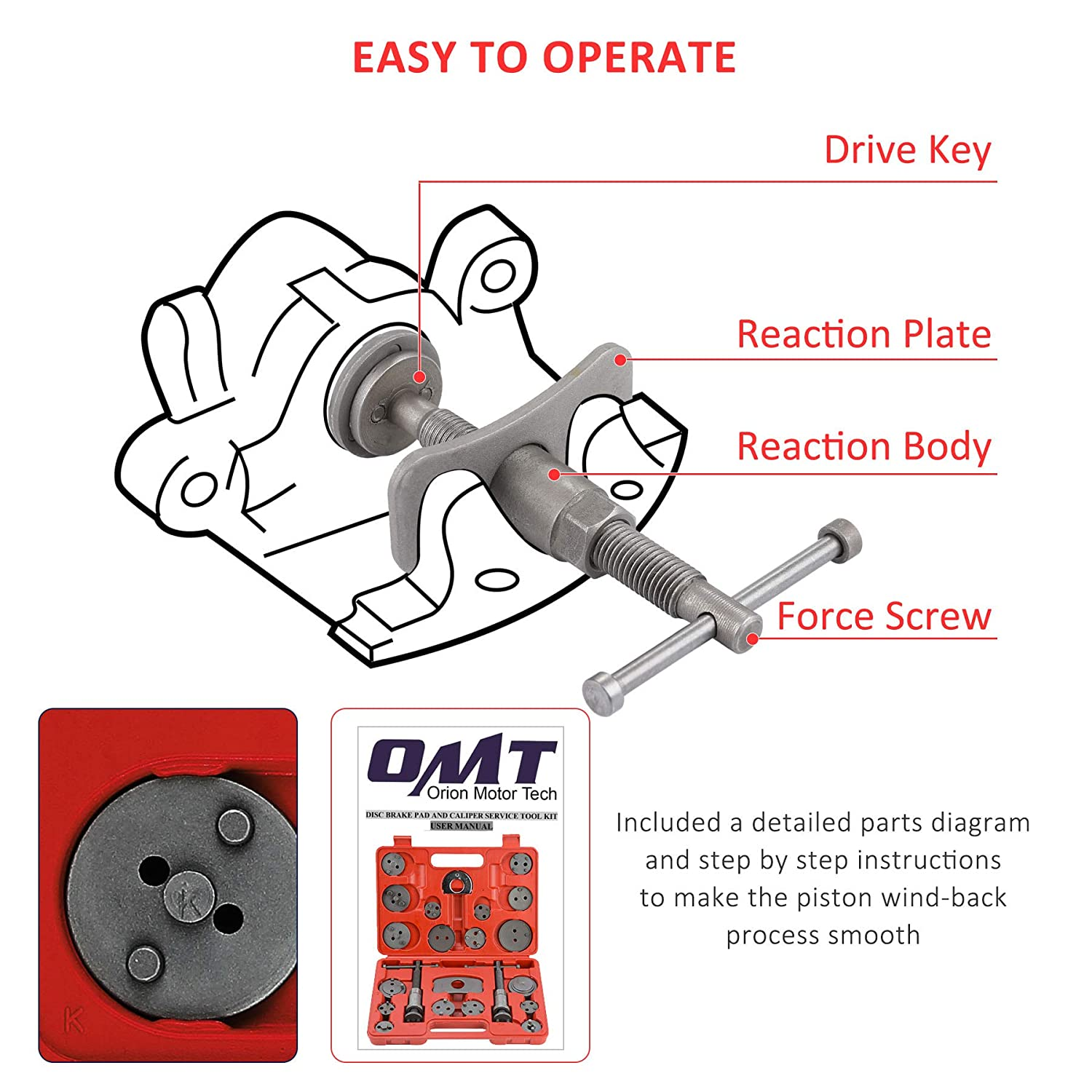OrionMotorTech 24PCS Master Disc Brake Piston Caliper Compressor Spreader Tool Set Brake Pad Replacement Reset Wind Back Kit
