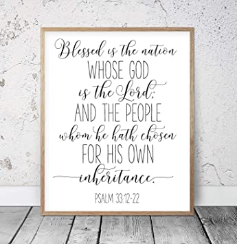 image about Printable Scripture named : Lucky is The Region Psalm 33:12 Nursery Bible