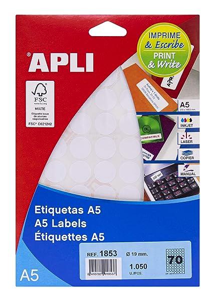 APLI 1853 - Etiquetas A5 blancas Ø 19,0 mm 15 hojas: Amazon.es ...