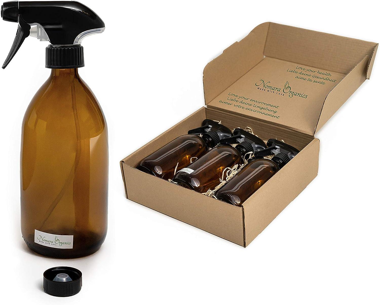 Nomara Organics® Botellas de cristal ámbar en espray 3 x 500 ml, en caja con pajita.Para regalo/cocina/baño/de limpieza, lavandería