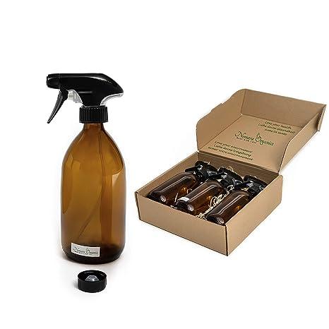 Nomara Organics® Botellas de cristal ámbar en espray 3 x 500 ml. En caja de pajita, bomba, reutilizable. Perfecto para Regalo/Limpieza/Cabello