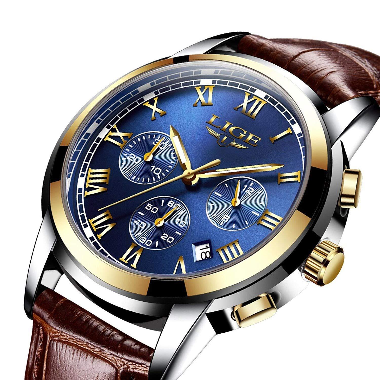 Relojes para Hombre, Impermeable Deportes Cronógrafo Analógico Cuarzo Reloj de Pulsera Azul Dial Calendario Hombres Negocios Casual Lujo Relojes de Pulsera Oro Azul