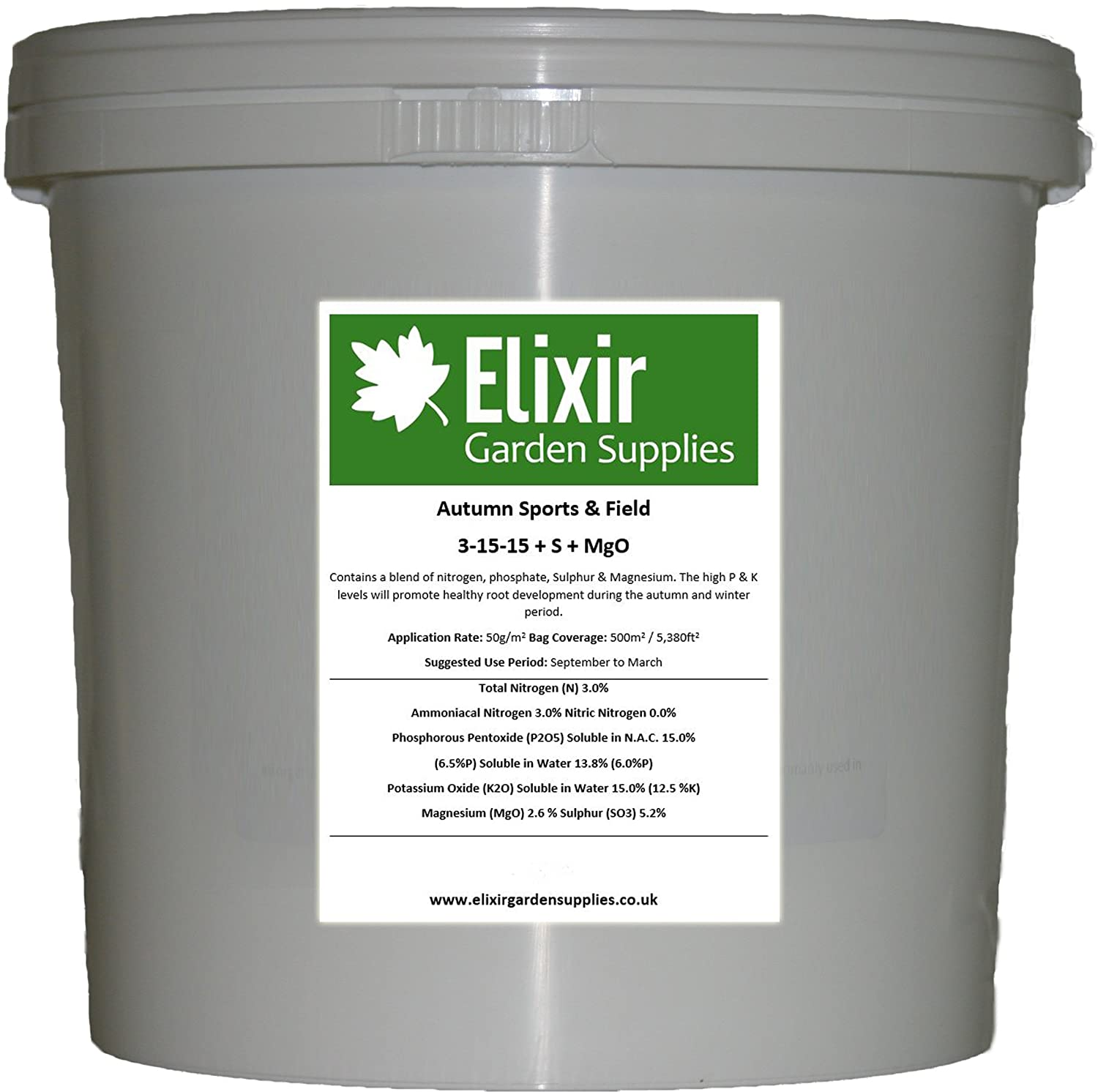 Elixir Gardens ® Winter/Autumn Sports Field, Paddock + Lawn Fertiliser/feed + Sulphur & Magnesium bag x 1