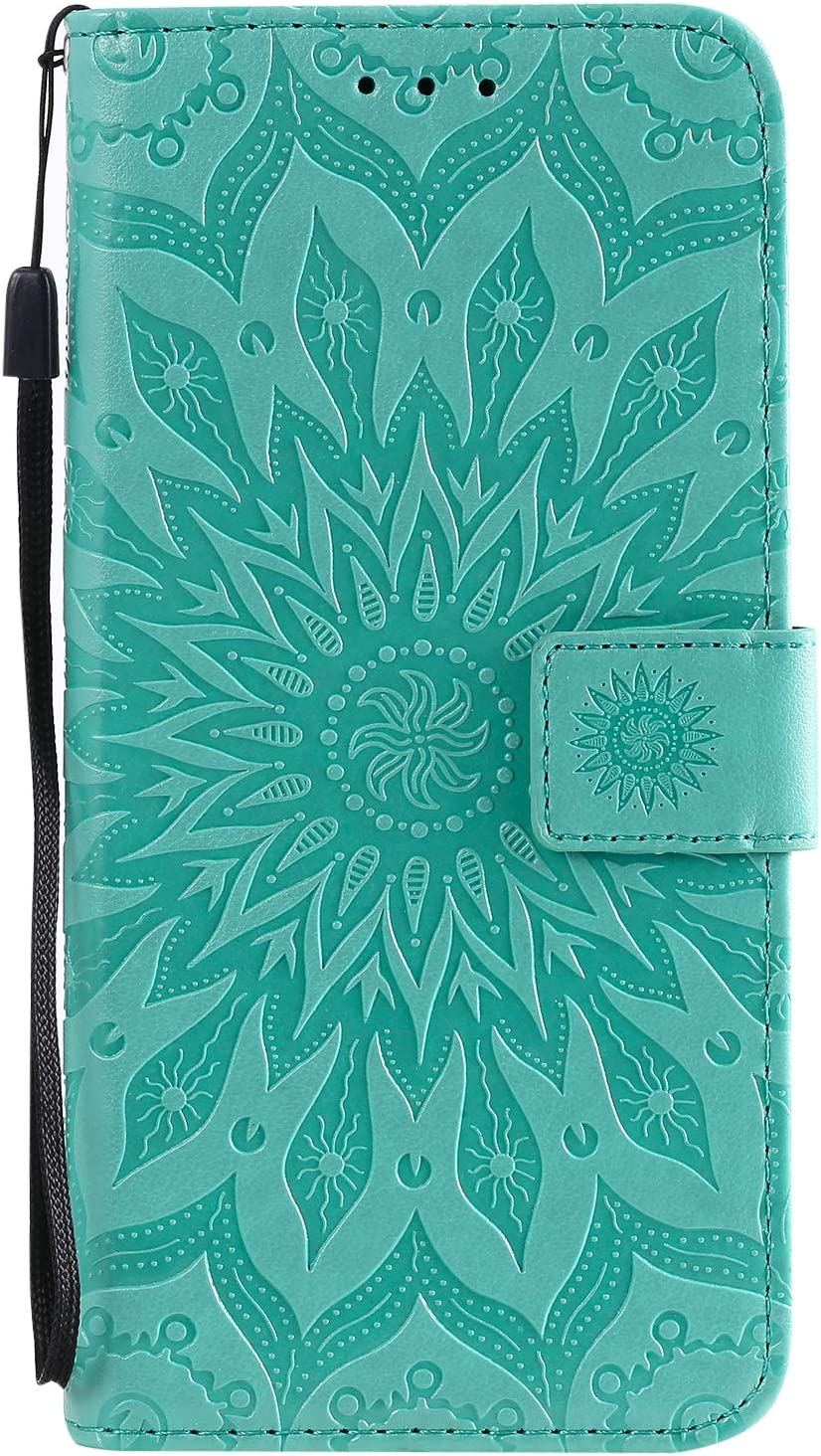 PU Leather Wallet Case for Samsung Galaxy A20S,Flip Folio Case for Samsung Galaxy A20S,Moiky Pretty Beautiful Pink Mandala Sun Flower Embossed Cover with Card Slots Shockproof Protective Stand Case