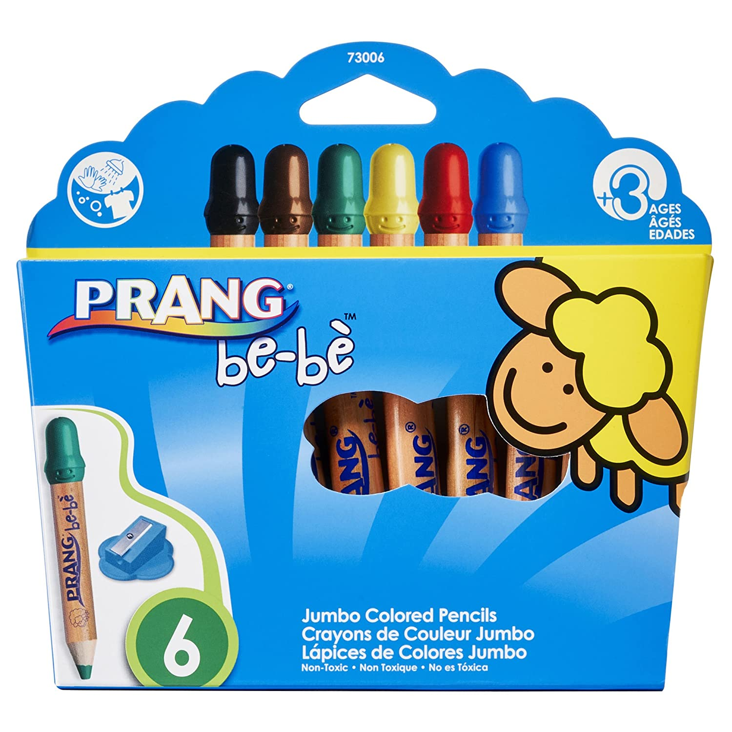 Prang Be-Be Jumbo Washable Colored Pencils with Sharpener, 6-Color Set (73006)