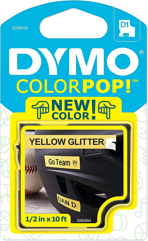 "DYMO COLORPOP Authentic Label Maker Tape, 1/2"" W x 10' L, Black Print on Yellow Glitter, D1 Standard"
