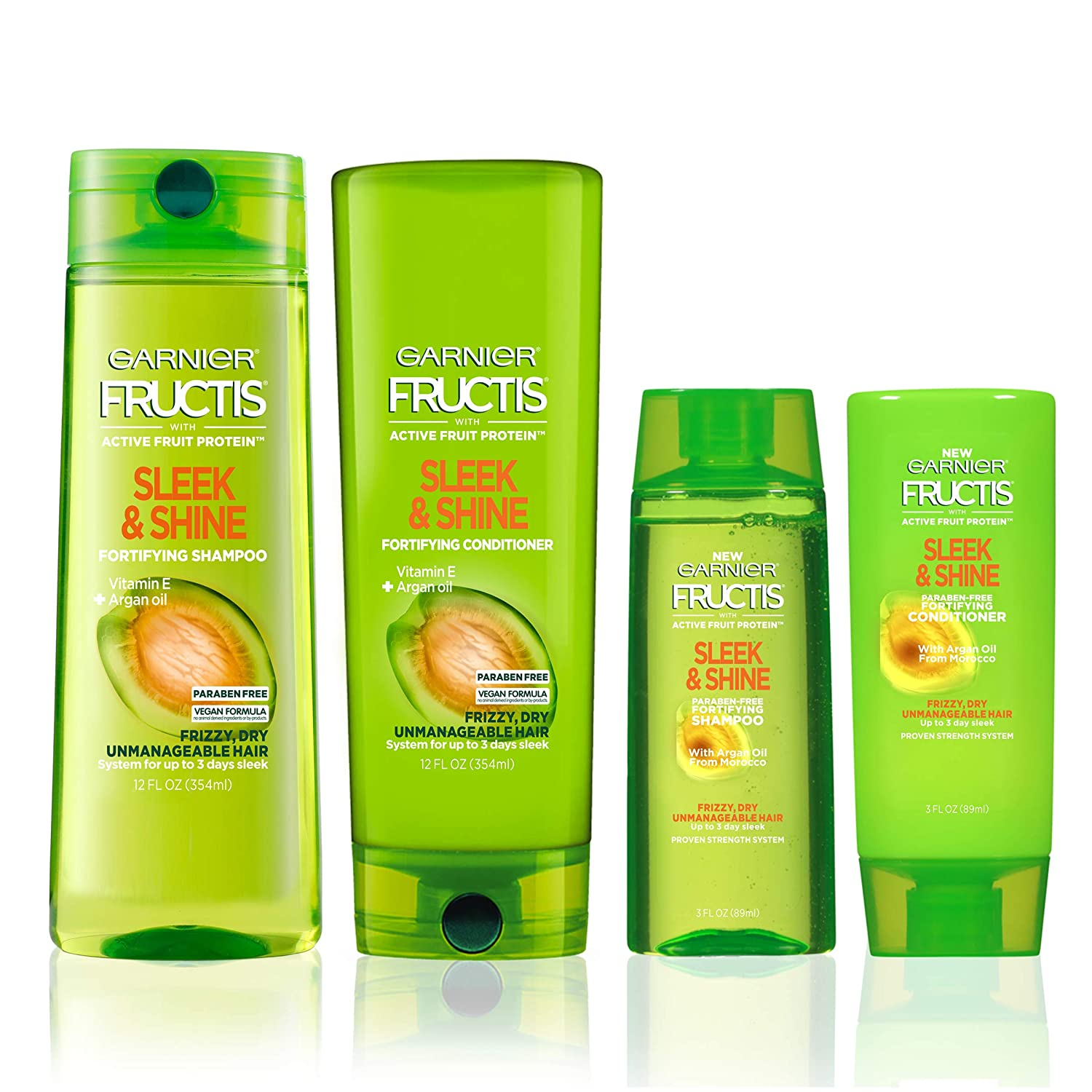 Garnier Hair Care Fructis Sleek & Shine Travel Size Shampoo and Conditioner, For Frizzy, Dry Hair, Made with Argan Oil from Morocco, Paraben Free Formula, 1 Kit