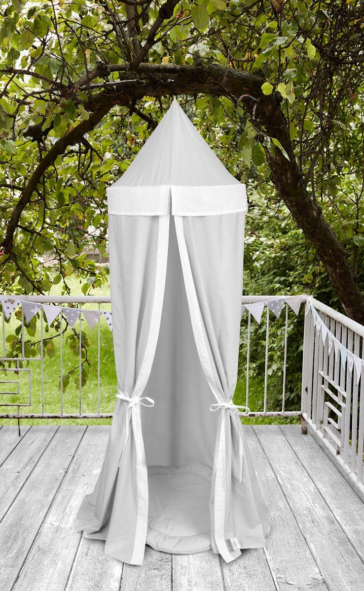 KraftKids Hängezelt kleine Blätter hellgrau auf Weiß und Uniweiss