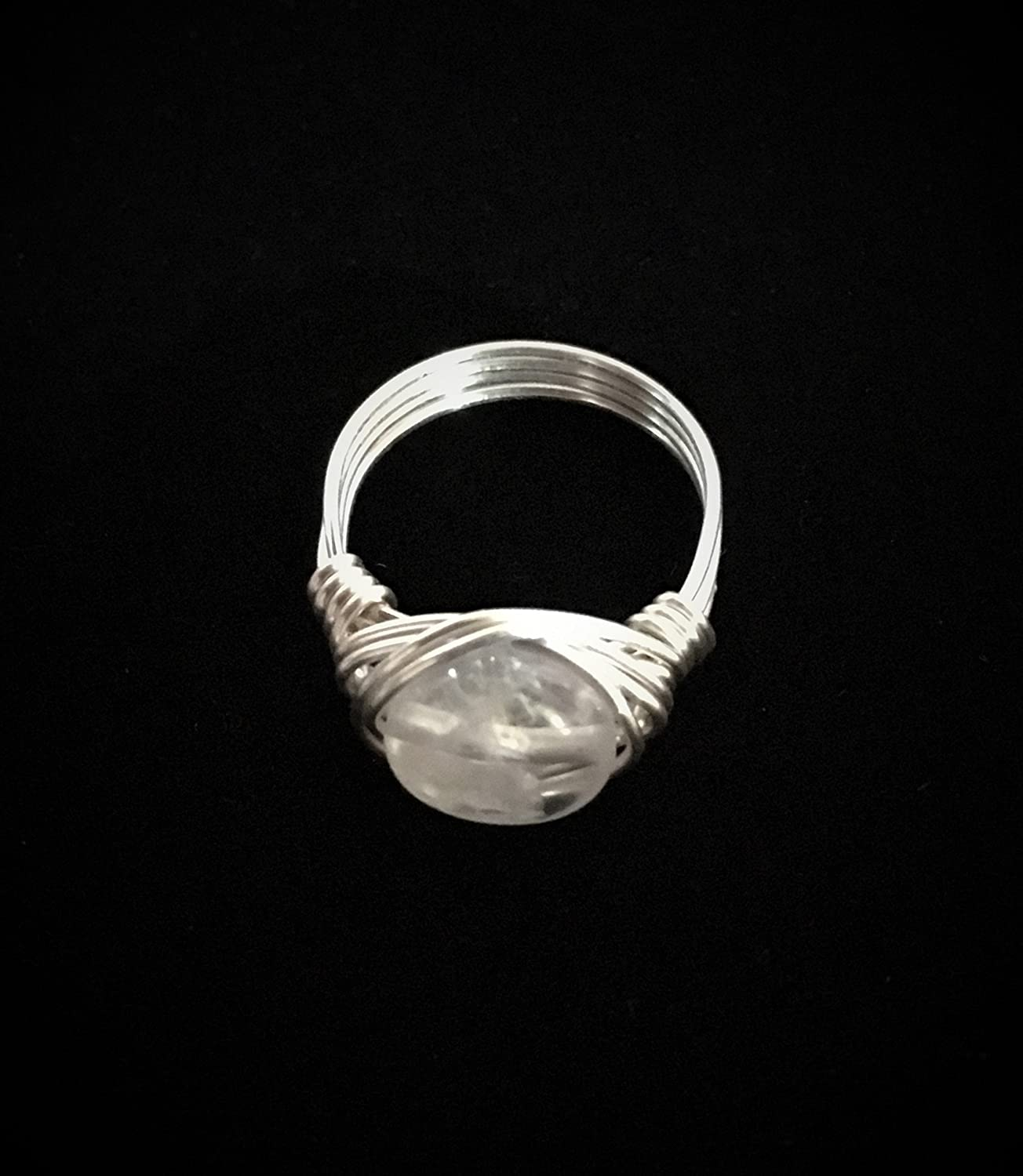 Clear Quartz Crystal Artisan Silver Wire Wrap Custom Size Ring