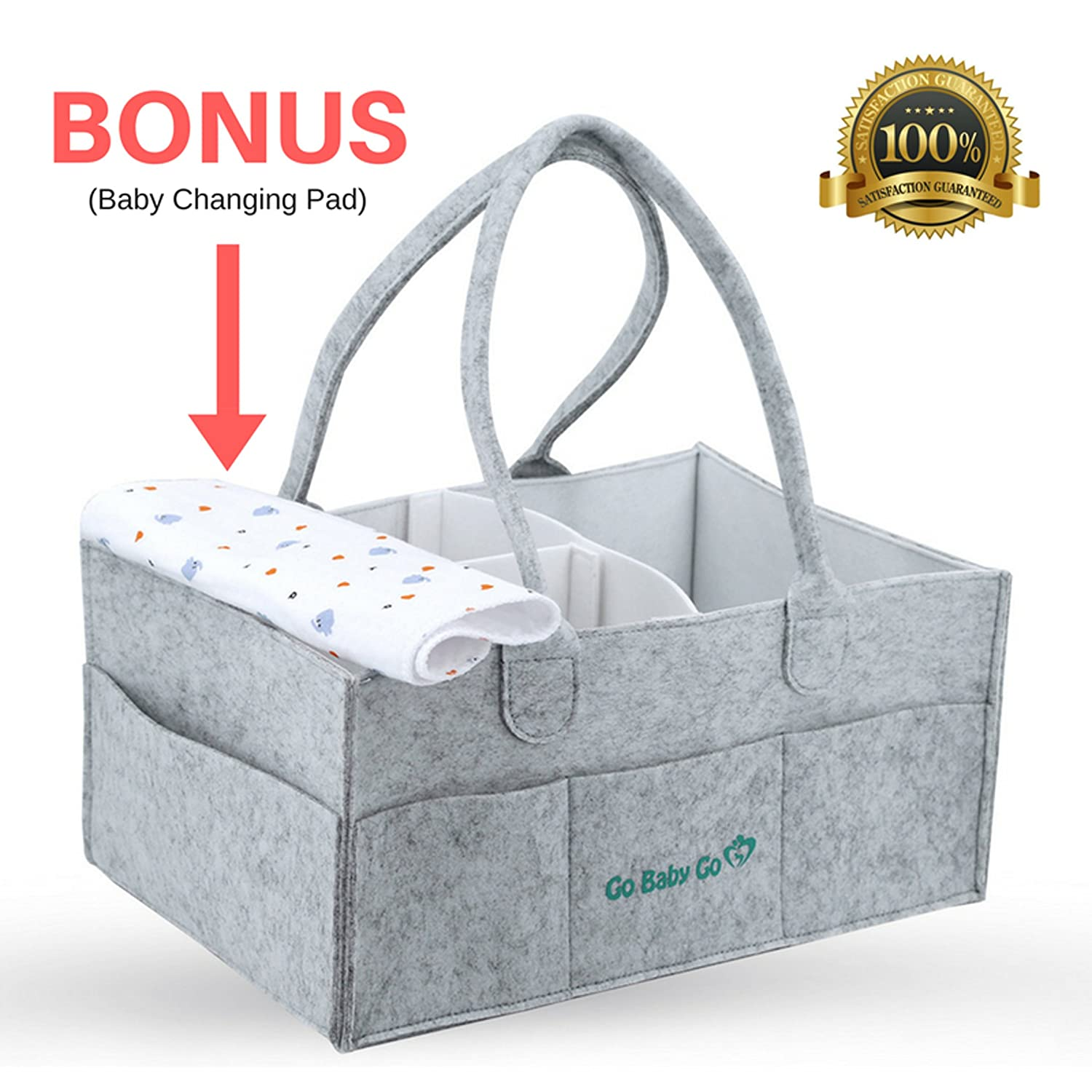 Portable Baby Diaper Caddy by Go Baby Go – Luxury Diaper Organizer Storage Basket and Waterproof Changing Pad – Customizable Compartments – Durable and Lightweight Nursery Travel Bin