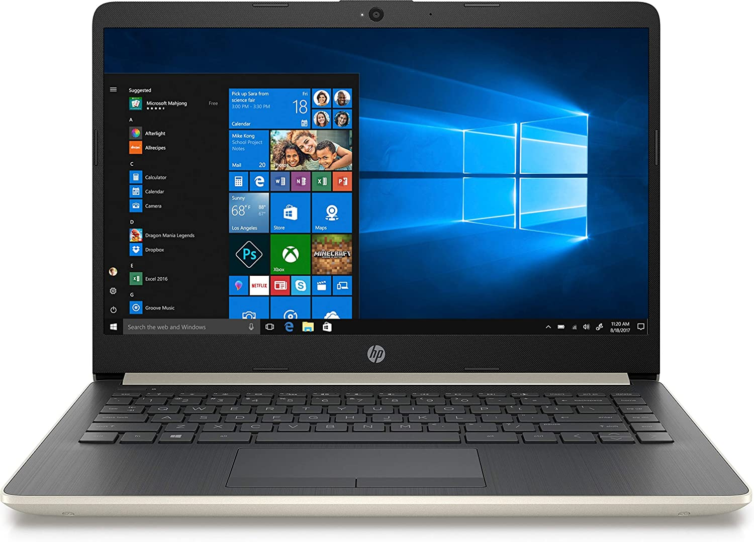 "2019 HP 14"" Laptop - Intel Core i3 (Up To 4GHz) - 8GB DDR4 Memory - 1TB SATA Hard Drive - Pale Gold and Ash Silver (14-CF0013DX)"