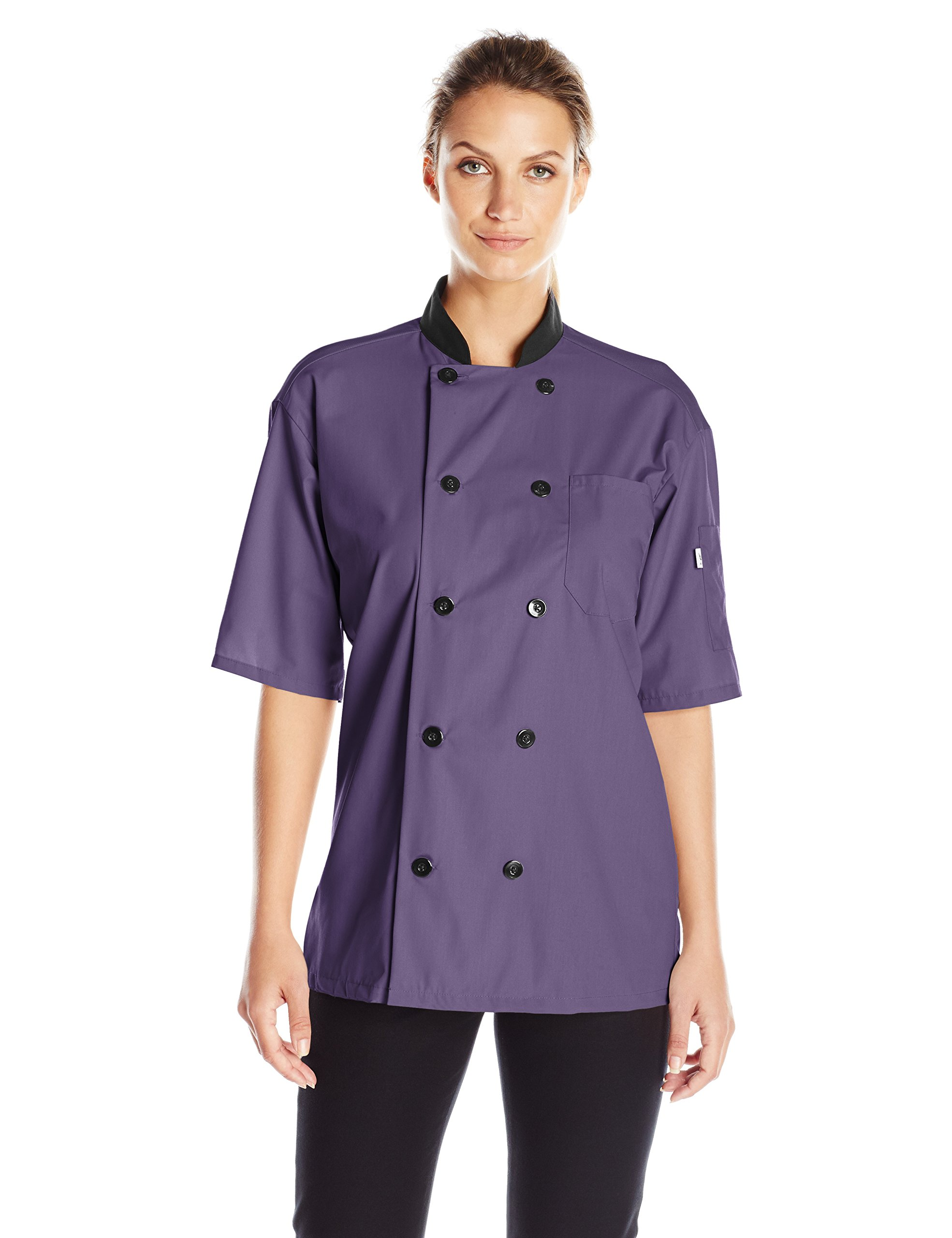 Uncommon Threads Unisex Havana Chef Coat Ss Mesh Blk TRM, Eggplant, Medium