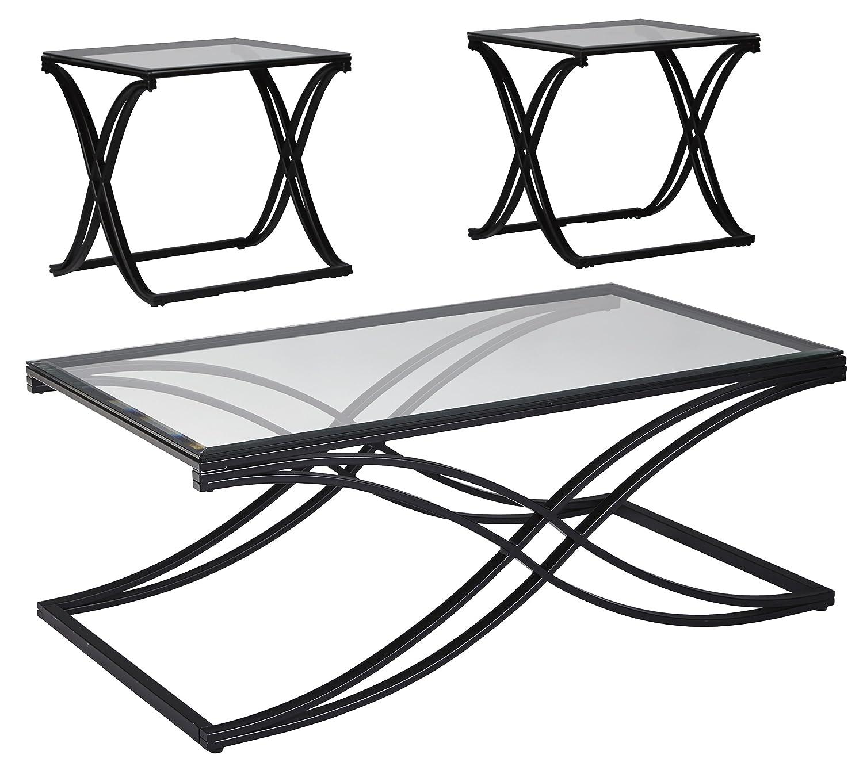 Ashley Furniture Signature Design - Augeron Contemporary 3-Piece Table Set - Includes Cocktail Table & 2 End Tables - Black T003-13