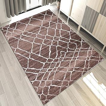 Amazon.de: Teppich Wohnzimmer Modern Gestreift Kurzflor In Braun ...