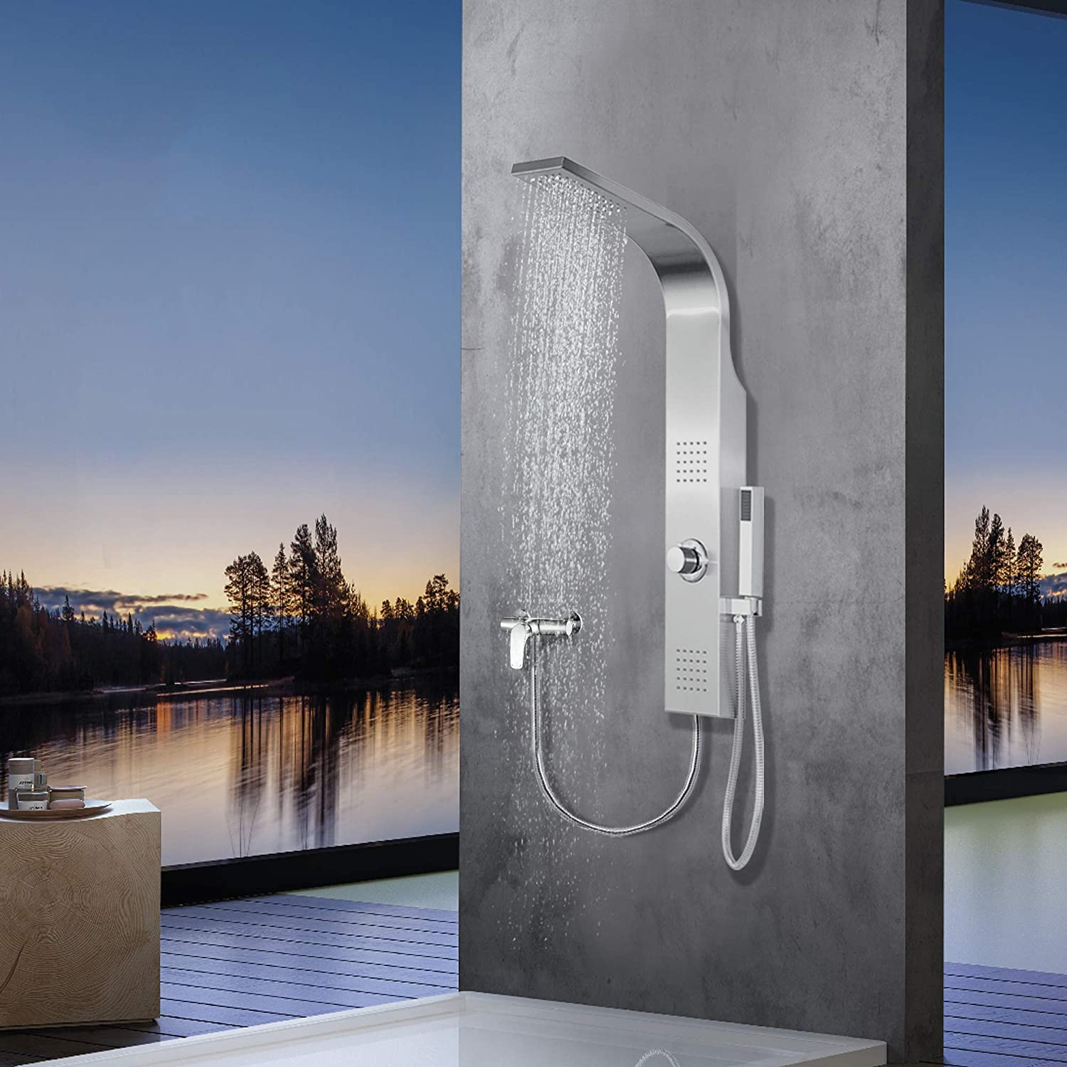 Elbe Shower Tower Panel Column Without Thermostat/Faucet, Mixer Shower Made of Stainless Steel 304, with 2 x hydromassage, 100 x 14 x 7 cm Mini-Design
