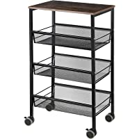 MOOACE Kitchen Cart on Wheels, 3-Tier Metal Mesh Rolling Utility Cart with Wood Top, Multifunction Wire Basket Shelf…