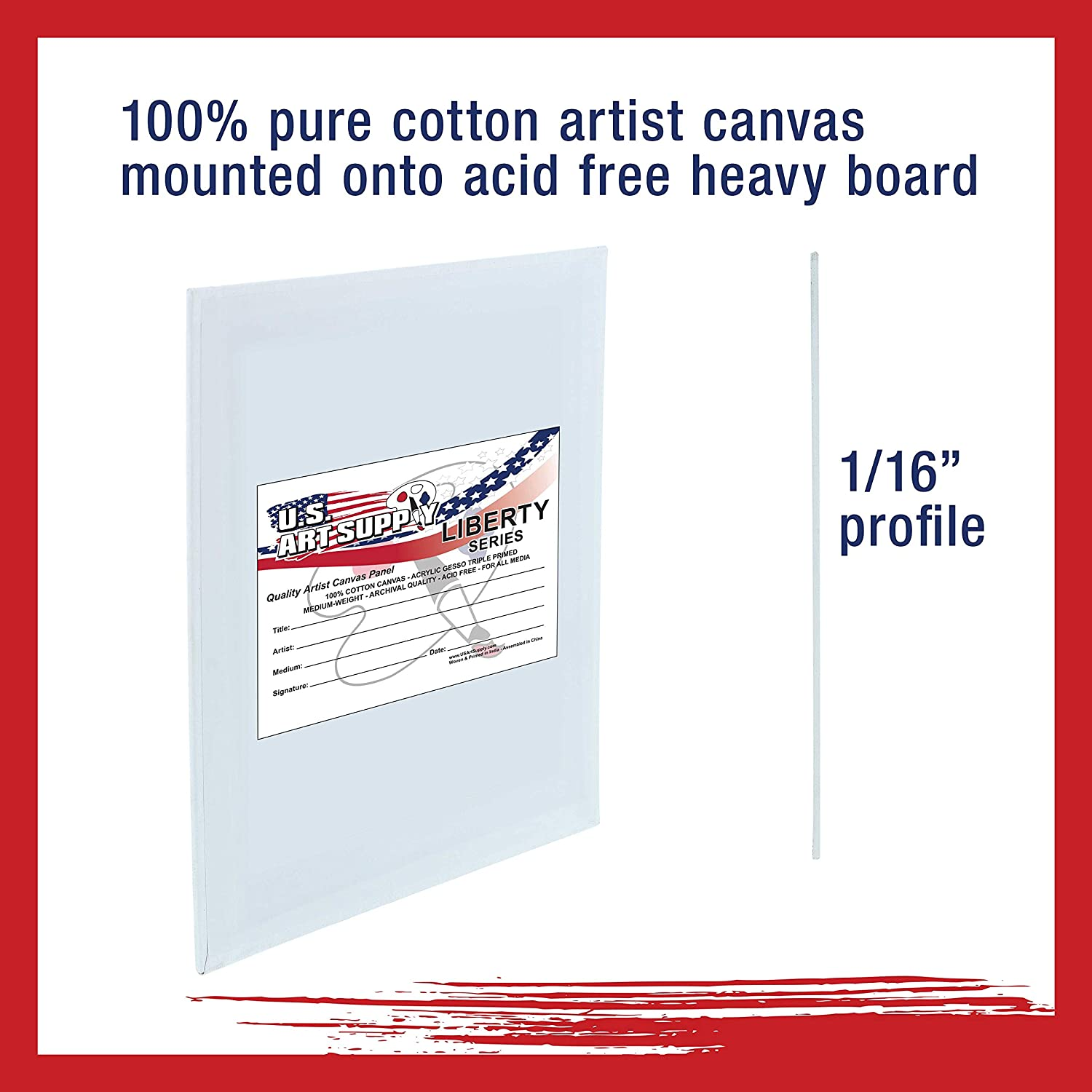 US Art Supply 4 X 6 inch Professional Artist Quality Acid Free Canvas Panel B...
