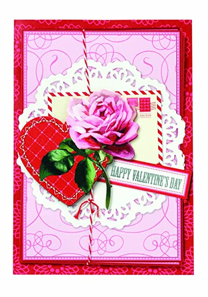 Amazon Com Anna Griffin Happy Valentine S Day Pink Rose With Heart