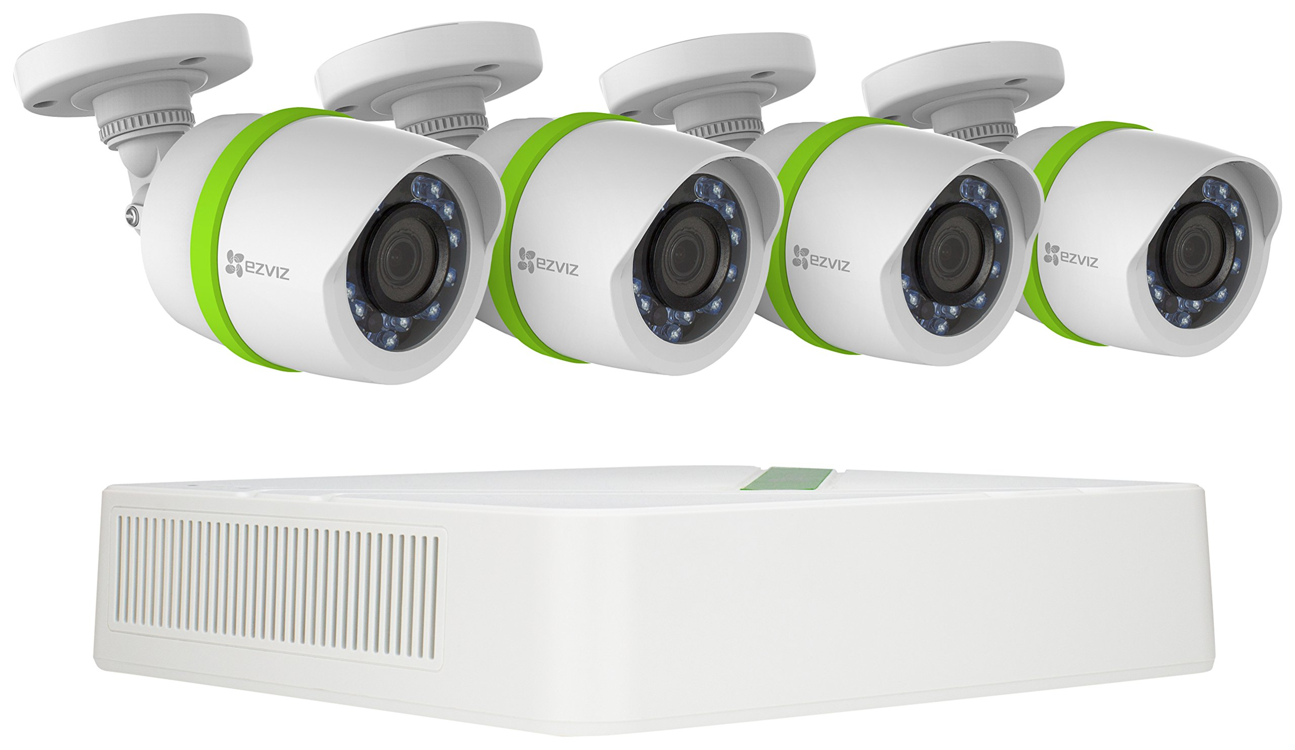 EZVIZ TRIPLE HD 3MP Outdoor Surveillance System, 4 Weatherproof HD Security Cameras, 4 Channel 1TB DVR Storage, 100ft Night Vision, Customizable Motion Detection