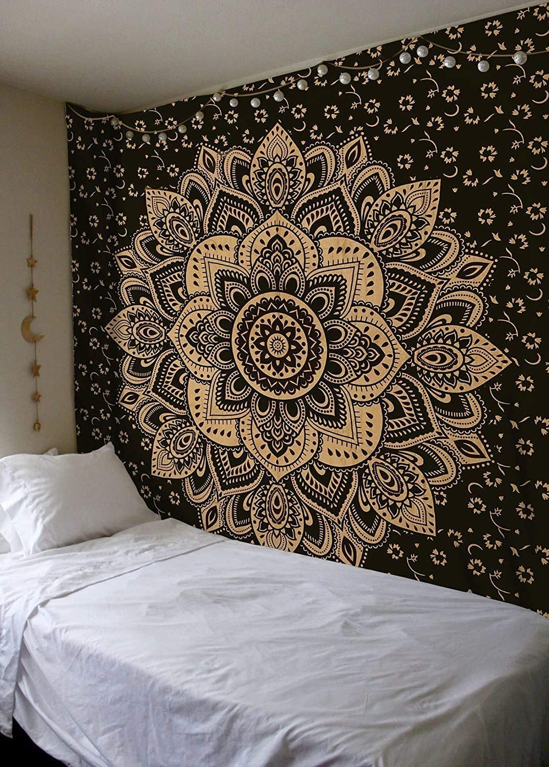 Popular Handicrafts Kp736 The Passion Gold Ombre Tapestry Indian Mandala Wall Art, Hippie Wall Hanging, Bohemian Bedspread 84x54 Inches(215x140cms) black