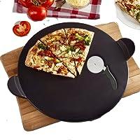 Pizza piedra set, Negro, schamott Panificadora ladrillo Set para horno y barbacoa redonda 33
